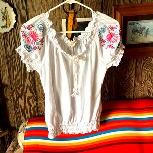 Self Esteem.white blouse w floral print on sleeves